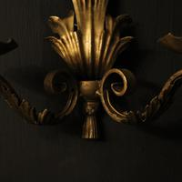 French Set of 4 Gilded Iron Twin Arm Wall Lights (5 of 10)