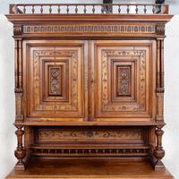Large German Carved Walnut Bookcase Cabinet 19th Century (2 of 14)