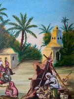 The Snake Charmer - Moroccan School - Vintage - 1960s - Original Oil Painting (6 of 11)