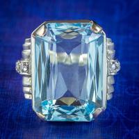 Aquamarine Diamond Cocktail Ring 14ct Gold 14.50ct Scissor Cut Aqua