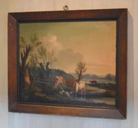 Fine Georgian Landscape Oil Painting with Cattle & Dog (2 of 8)