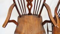 Pair Georgian Oak & Elm  Windsor armchairs (19 of 20)