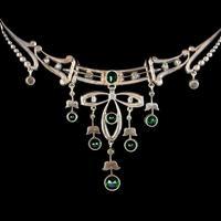 Antique Victorian Art Nouveau Green Paste Garland Necklace Silver c.1900 (6 of 8)