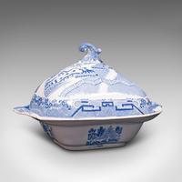 Antique Pea Keeper, English, Ceramic, Serving Tureen, After Delft, Victorian