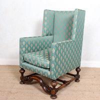 Lounge Chair Armchair Walnut Wingback Edwardian (12 of 12)