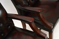 Pair of Antique Georgian Style Leather Gainsborough Armchairs (4 of 9)