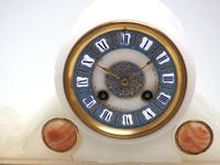 Fine Antique French Alabaster Mantel Clock – Blue Painted Dial 8-day Striking Mantle Clock (4 of 8)