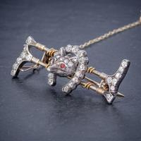 Antique Victorian Diamond Fox Hunting Riding Brooch Silver 18ct Gold 2ct of Diamond c.1900 (3 of 7)