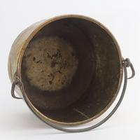 Large Age Patinated Brass Log Bin with Iron Swing Handle C1875 (8 of 9)