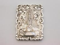 Victorian Silver Castle-top Card Case Martyrs Memorial Oxford by Frederick Marson, Birmingham, 1850 (2 of 10)