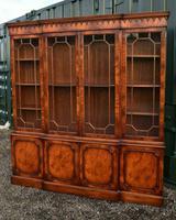 Quality Mahogany Breakfront Library Bookcase