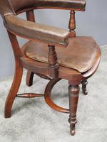 William IV Mahogany and Brown Leather Office Chair (4 of 7)