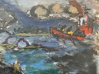 Expressionist Scottish Oil Painting Fishermen Hauling The Nets by Archibald Peddie Glasgow School of Art (9 of 37)