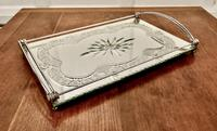 Art Deco Silver Plated Cut Glass Mirror Tray (2 of 11)