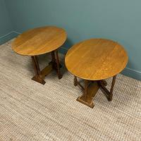 Unusual Pair of Edwardian Oak Drop Leaf Antique Sofa Tables (2 of 7)