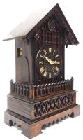 Rare Gallery Cuckoo Mantel Clock – German Black Forest Carved Bracket Clock (10 of 13)