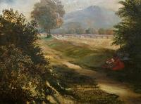 19thc British School - Travellers at Rest - Stunning Landscape Oil Painting (4 of 12)
