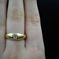 Antique Old Cut Diamond Solitaire Gypsy 18ct Yellow Gold Ring Band (9 of 9)