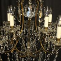 French Gilded Birdcage 11 Light Crystal Antique Chandelier (5 of 10)