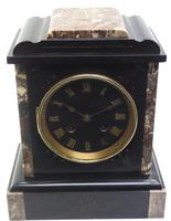 Antique French Slate & Marble Mantel Clock striking 8 day Mantle Clock (3 of 8)