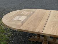 Large Round French Bleached Oak Farmhouse Table with Extensions (35 of 38)