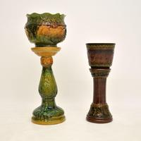 Pair of Antique Majolica Porcelain Plant Stands