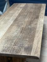 Larger French Bleached Oak Trestle Farmhouse Dining Table (9 of 21)