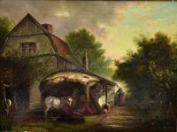 19th Century Country Farmhouse Scene,  Oil on Canvas. Original Gilt Frame. (2 of 5)