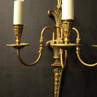French Set of 4 Gilded Triple Arm Wall Lights (7 of 10)