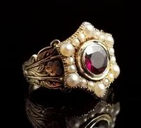 Antique Mourning Ring, 18ct Gold, Enamel, Pearl & Garnet - William IV (8 of 13)