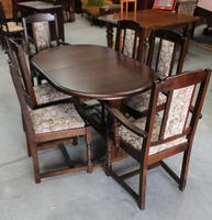 1940's Oak Dining Suite with Set 6 Oak Dining Chairs (3 of 5)