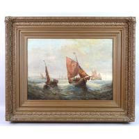 Pair of George H. Knight Oil on Canvas Paintings of Marine Scenes (6 of 9)