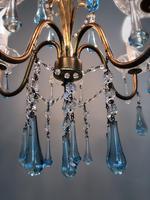 Vintage Gilt Toleware Ceiling Light Chandelier with Teal Glass Droplets (11 of 12)