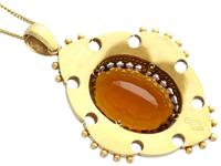 21.63ct Citrine, Enamel and 18ct Yellow Gold Pendant - Antique Victorian (1869) (5 of 9)
