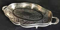 Silver Plated Serpentined  Two Handle Galleried Tray (8 of 8)