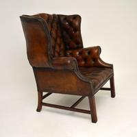 Antique Leather  Wingback Armchair (4 of 9)