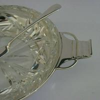 Art Deco English Solid Sterling Silver & Glass Butter Dish 1936 / 37 (4 of 12)