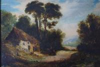 19th Century Oil on Board Thatched Cottage (3 of 10)