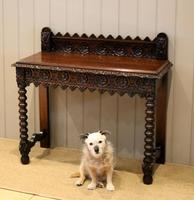 Carved Dark Oak Hall Table (5 of 9)