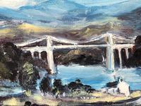 20th Century Oil Painting Wales Menai Bridge Church Straits Snowdonia Mountains (23 of 27)