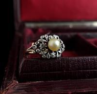 Antique Georgian Diamond & Pearl Ring, 18ct Gold (12 of 14)