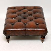 Antique Victorian Style Deep Buttoned Leather Stool (3 of 8)