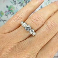 Vintage 18ct Platinum Five Stone Diamond Ring 1.20 Carat ~ with independent valuation (5 of 9)