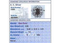 2.02ct Ruby & 1.60ct Diamond, Platinum Cluster Ring - Vintage c.1960 (6 of 12)