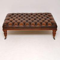 Large Antique Victorian Style Leather & Mahogany Stool / Coffee Table (2 of 8)