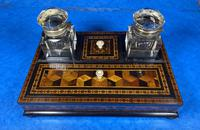 Victorian Rosewood & Tunbridge Ware Inkstand by Thomas Barton (2 of 24)