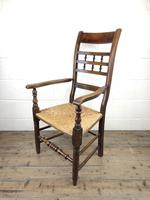 Antique Elm Spindle Back Armchair with Rush Seat (9 of 10)