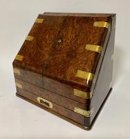 Victorian Burr Walnut Brass Bound Desktop Stationery Cabinet (3 of 15)