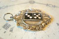 Antique Pocket Watch Chain Gaming Fob 1910 Art Nouveau Large Silver Nickel Dominos Fob Nos (5 of 8)