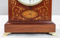 French Belle Epoque Mahogany and Inlaid Mantel Clock (6 of 8)